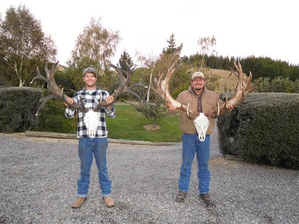 Austin and Layne with their Red Stags European skulls